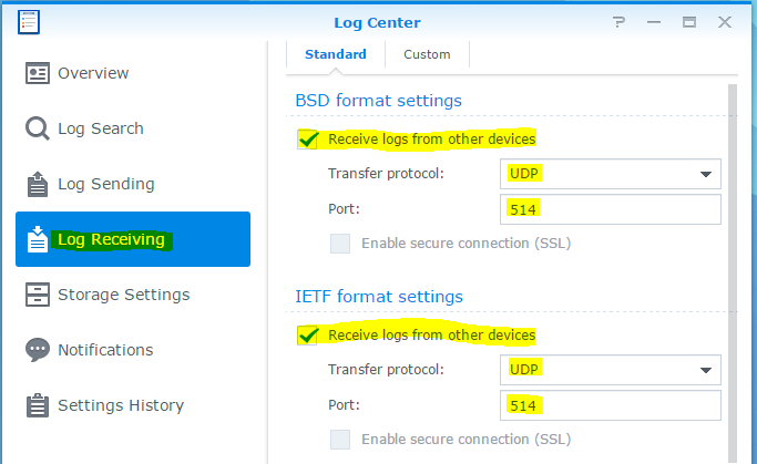synology log center log receiving