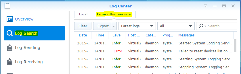 synology log center logs from other servers