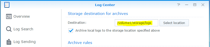 synology log center storage settings